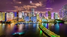 Miami, Florida, USA. Skyline on Biscayne Bay stock video footage
