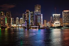 Miami, Florida, USA skyline on Biscayne Bay. Luxuru life concept. glowing view of Miami downtown. Miami, Florida, USA skyline on Biscayne Bay. Luxuru life royalty free stock image