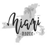 Miami Florida vector. Miami lettering hand drawn. Retro typography print Royalty Free Stock Photography