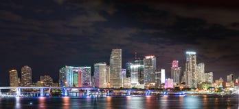 Miami Floryda nocy linia horyzontu Obrazy Royalty Free