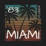 Miami Floryda trójnika druk z drzewkami palmowymi Obraz Royalty Free