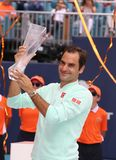 Grand Slam champion Roger Federer of Switzerland during trophy presentation after his victory at 2019 Miami Open final match. MIAMI GARDENS, FLORIDA - MARCH 31 stock image