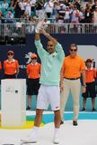 Grand Slam champion Roger Federer of Switzerland during trophy presentation after his victory at 2019 Miami Open final match. MIAMI GARDENS, FLORIDA - MARCH 31 stock photo