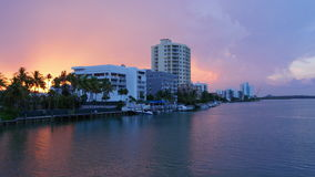 Miami gulf apartment block sunset sky 4k time lapse florida usa stock video