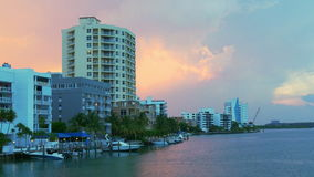 Miami gulf living block yacht dock sunset panorama 4k usa. Usa miami gulf living block yacht dock sunset panorama 4k stock footage