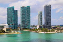 Miami harbor buildngs Royalty Free Stock Image