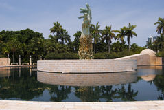 Miami Holocaust memorial wide. Wide shot of the center statue at the miami beach holocaust memorial including the pool Stock Photo