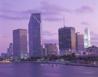 Miami, horizon de la Floride au coucher du soleil Photo stock