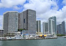 Miami. Hotel's in south Florida with a marina in the foreground royalty free stock photo