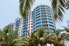 Miami Hotel Street View. Colorful hotel architecture in South Beach Miami Florida Royalty Free Stock Image