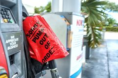 Miami before Hurricane Irma. MIAMI - 06 SEPT 2017 - Gas pump depleted. People of Miami hoards gasoline, fresh water and supplies foreseeing the chance of stock image
