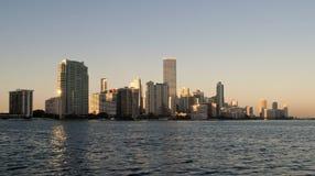 Miami i stadens centrum solnedgång Arkivfoto