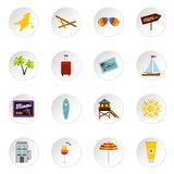 Miami icons set, flat style. Miami icons set. Flat illustration of 16 Miami icons for web vector illustration