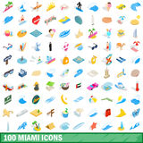 100 miami icons set, isometric 3d style Royalty Free Stock Images