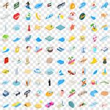 100 miami icons set, isometric 3d style. 100 miami icons set in isometric 3d style for any design vector illustration Royalty Free Stock Image