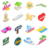 Miami icons set, isometric 3d style Stock Photography