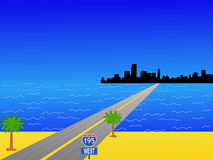 Miami and interstate 195. Miami Skyline and interstate 195 illustration Stock Images