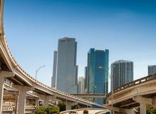 Miami interstate and city skyline Royalty Free Stock Photo