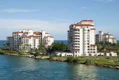 Miami Island Apartments. The view of apartment building on Fisher Island in Miami Florida royalty free stock images