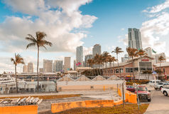 MIAMI - JANUARY 12, 2016: Miami skyline at dusk. The city attrac Royalty Free Stock Photo