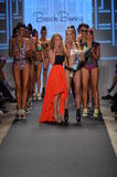 MIAMI - JULY 19: Designer Angela Chittenden and models walks runway finale at the Beach Bunny Collection for 2014 Royalty Free Stock Photos