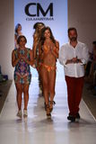 MIAMI - JULY 19: Designer Benny Rosett and Models walks runway finale at Cia Maritima collection Royalty Free Stock Photo