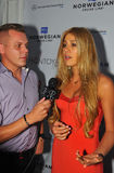 MIAMI - JULY 21: Designer Liliana Montoya giving away interview backstage at Liliana Montoya Swim collection Stock Photo