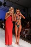 MIAMI - JULY 21: Designer Liliana Montoya (L) and model walk runway finale at Liliana Montoya Swim collection Royalty Free Stock Image