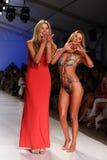 MIAMI - JULY 21: Designer Liliana Montoya (L) and model walk runway finale at Liliana Montoya Swim collection Stock Image