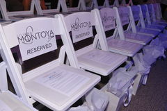 MIAMI - JULY 21: Front row chairs at Liliana Montoya Swim collection Royalty Free Stock Photo