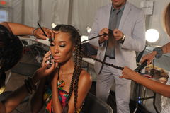MIAMI - JULY 20: Model getting ready for the show at the Agua Di Lara 2014 Collection backstage Stock Image