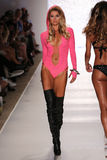 MIAMI - JULY 18: Model KeKe Lindgard walks runway at Beach Bunny Swim collection Stock Image