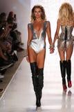 MIAMI - JULY 18: Model KeKe Lindgard walks runway at Beach Bunny Swim collection Stock Photo