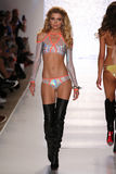 MIAMI - JULY 18: Model Natalie Pack walks runway at Beach Bunny Swim collection Stock Photography