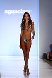 MIAMI - JULY 21: Model walks runway at Aguaclara Swimwear collection Stock Photography