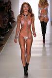 MIAMI - JULY 18: Model walks runway at Beach Bunny Swim collection Stock Photo