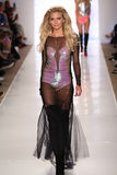 MIAMI - JULY 18: Model walks runway at Beach Bunny Swim collection Royalty Free Stock Photo