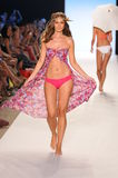 MIAMI - JULY 14: Model walks runway at the L Space Swimsuit Collection for Spring/ Summer 2012 Royalty Free Stock Images