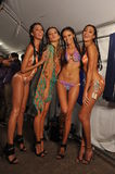MIAMI - JULY 20: Models getting ready for the show at the Agua Di Lara 2014 Collection backstage Royalty Free Stock Photos