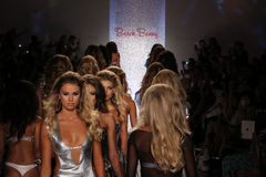 MIAMI - JULY 18: Models walk runway finale at Beach Bunny Swim collection Royalty Free Stock Photography