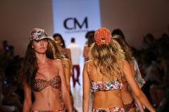 MIAMI - JULY 19: Models walk runway finale at Cia Maritima collection Royalty Free Stock Photos