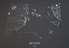 Miami-Karte, USA, Satellitenbild Stockfoto