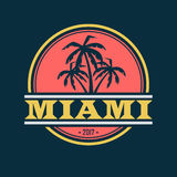 Miami 2017 label. Colorful Miami label with text and palm silhouettes Royalty Free Stock Images