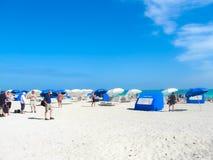 Miami, los E.E.U.U. - 5 de enero de 2014: Playa del sur, Miami Beach, la Florida Foto de archivo libre de regalías