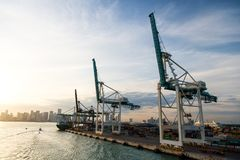 Miami, los E.E.U.U. - marzo, 18, 2016: comercio, comercio, negocio Puerto marítimo del envase con el buque de carga, grúas El pue Fotografía de archivo libre de regalías
