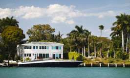 Miami luxury home. This luxurious Miami home with luxury waterfrontage and moaring stock images