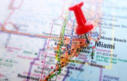 Miami map. Closeup of Miami map with red push pin royalty free stock images