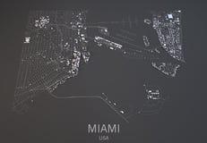 Miami mapa, Usa, satelitarny widok Zdjęcie Stock