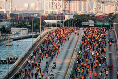 Miami Marathon 2016. Miami, Florida - JANUARY 24th, 2016: Runners in the Miami Marathon on January, 24th, 2016 in Miami, FL. Miami Marathon has been one of the Stock Photos
