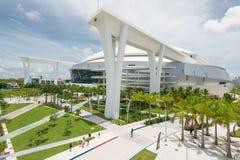 The Miami Marlins stadium in Miami. MIAMI,USA - JUNE 1,2014 : The Miami Marlins Major Leagues baseball stadium in Little Havana Royalty Free Stock Photos